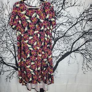LuLaRoe Carly Dress Navy & Purple Butterfly Print